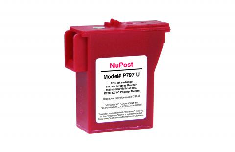 NuPost Remanufactured Postage Meter Red Ink Cartridge for Pitney Bowes 797-0/797-Q/797-M