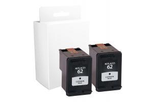 GTLaser Compatible Black Ink Cartridges for HP 62 2-Pack