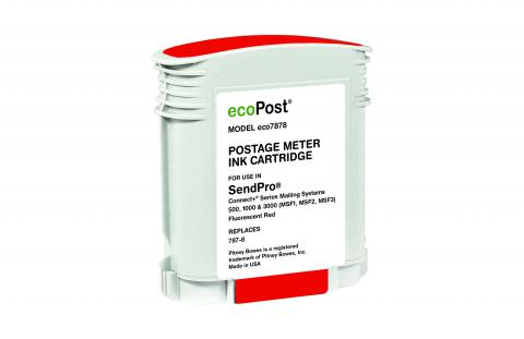 ecoPost Remanufactured Postage Meter Fluorescent Red Ink Cartridge for Pitney Bowes 787-8