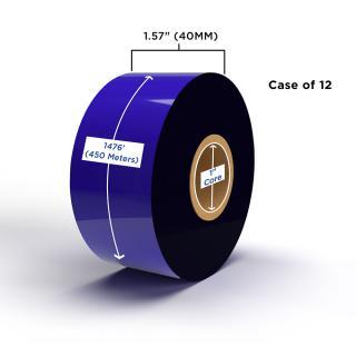 Clover Imaging Non-OEM New Resin Ribbon 40mm x 450M (12 Ribbons/Case) for Zebra Printers