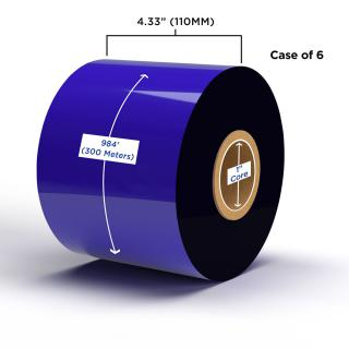 Clover Imaging Non-OEM New Wax Ribbon 110mm x 300M (6 Ribbons/Case) for Zebra Printers